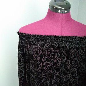 Knox Rose Sheer Velvet Floral Off the Shoulder Top
